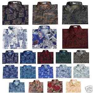 Mens Thai Silk Patterned Shirts/Casual Paisley Vintage Hawaiian | eBay