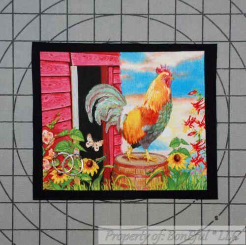 BonEful Fabric FQ Cotton Quilt Applique Block Rooster Chicken Farm Scenic Market