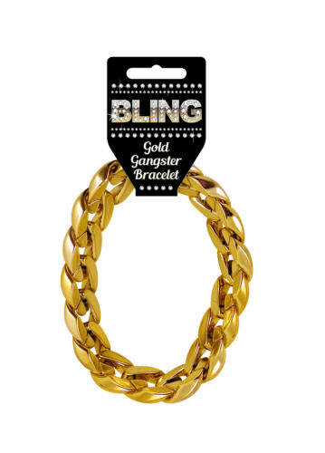 Gangster Fancy Dress Costume Pimp Stick Party Dress Up Gold Bracelet Necklace