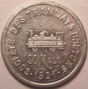 10 Centimes Saint Malo, Société Des Tramways Bretons, 1921 ! Volume Large