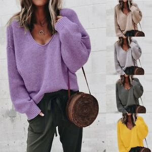 Women-V-neck-Long-Sleeve-Sweater-Baggy-Loose-Knitwear-Knitted-Jumper-Tops-Blouse