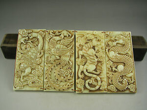 Antique-Chinese-Hand-carved-jade-STATUES-dragon-tiger-snake-phoenix
