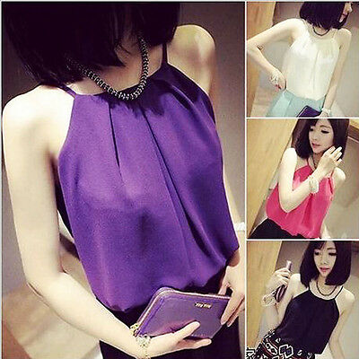 New Fashion Women Sexy Casual Loose Chiffon Sleeveless Vest Shirt Tops Summer