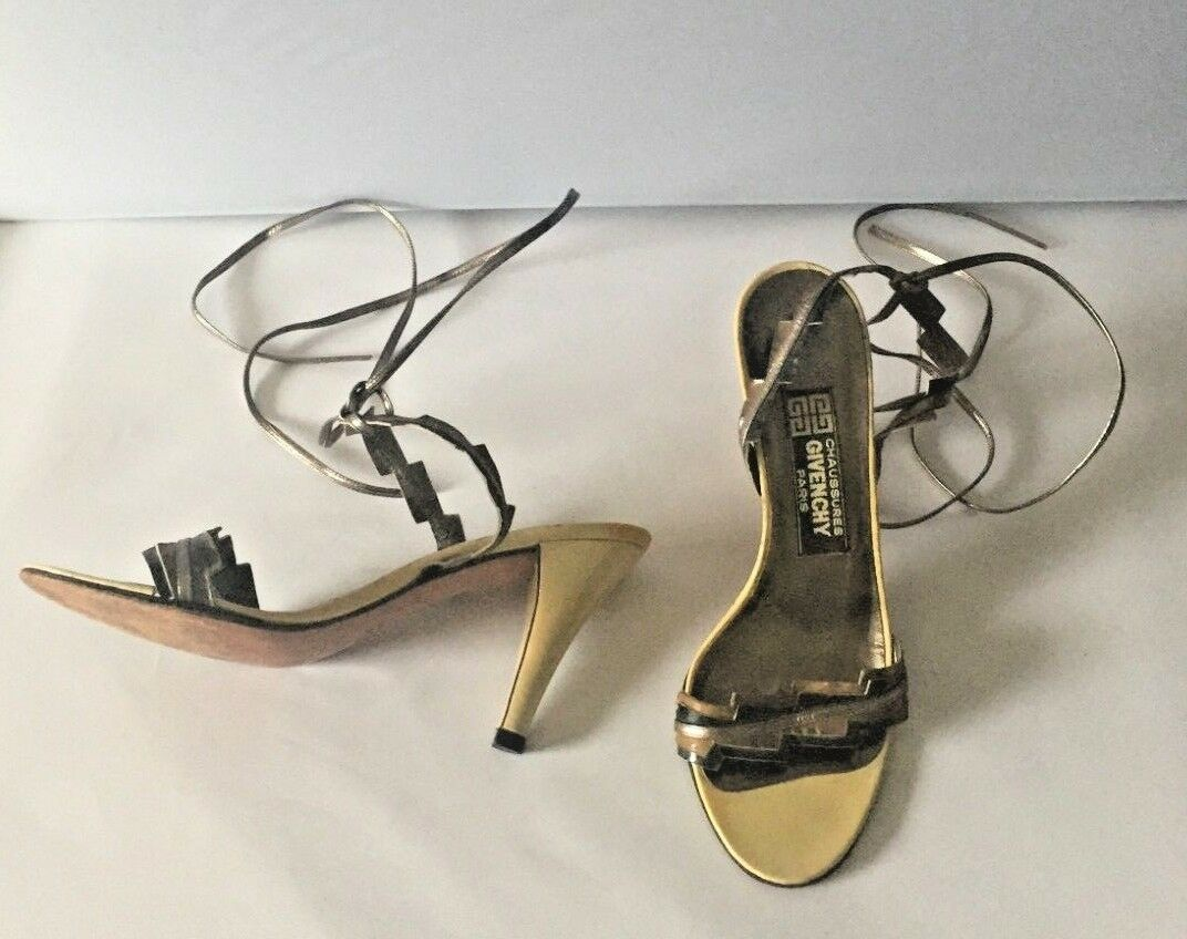 Vintage Rare Givenchy Metallic Gladiator Lace Up Heels 6.5 M schuhe Cream Bronze