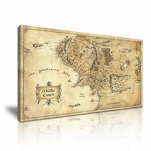 Frame-Hobbit-Lord-of-the-Rings-Middle-Earth-Map-Canvas-Wall-Art-Picture-Print