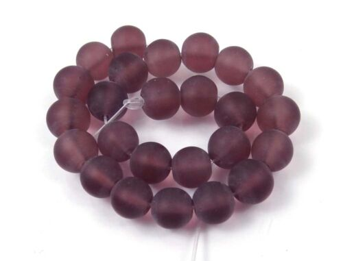25 Frosted Sea Glass Round Beads Matte Amethyst 8mm