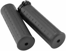 Avon Black Waffle Hand Grips for 1984-2013 Harley Softail Sportster Dyna WAF-87