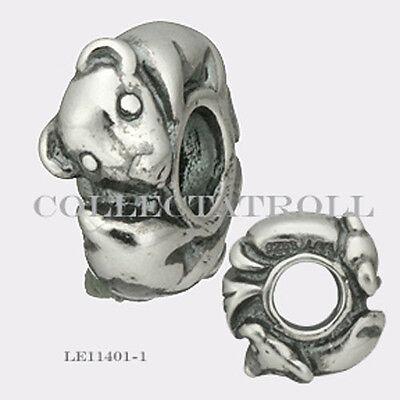 Authentic Trollbeads Silver Pig Bead Trollbead RETIRED  LE11401-12  TAGBE-40071