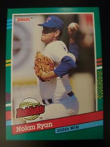 Details About Nolan Ryan 1991 Donruss Highlights Card Bc 15 300th Win Texas Rangers