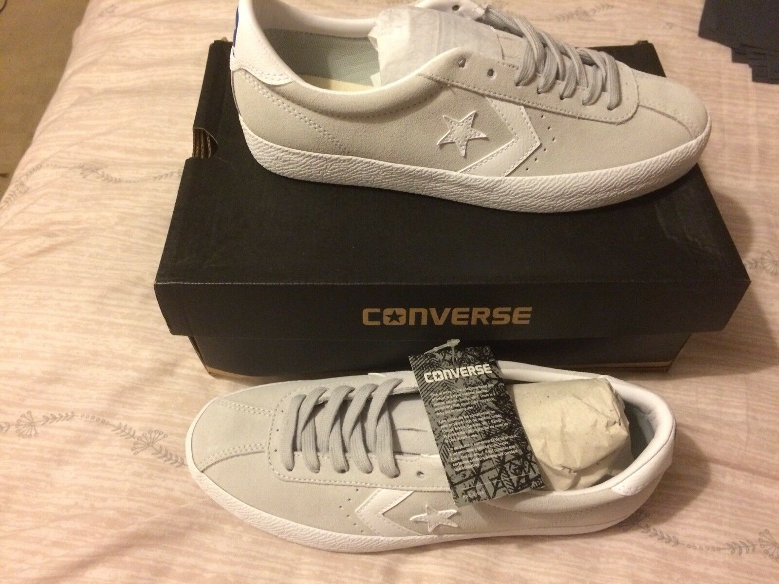 Brand New BREAKPOINT In Box CONVERSE CONS BREAKPOINT New OX SUEDE TRAINERS Mouse White SIZE 8 133621