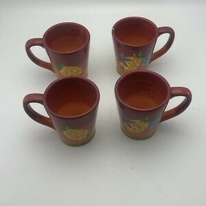 Laurie-Gates-Gates-Ware-Lga128-Yellow-Pineapple-Mug-Cup-Fruit-Flowers-Lot-Of-4