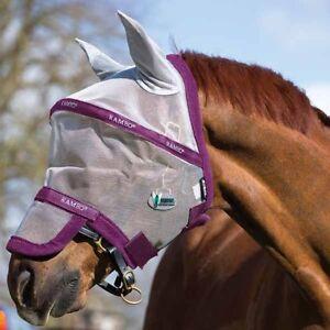 HORSEWARE-Rambo-Fliegenmaske-Plus-Vamoose-silver-purple-Fliegenschutz-mit-Ohren