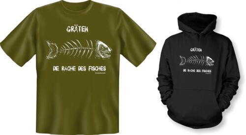 T-Shirt Gräten die Rache des Fisches Angeln Angler Fisch Kapuzenshirt Hoodie od