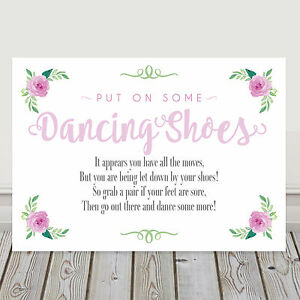 ed7d96483 Pink Dancing Shoes Wedding Flip Flop Sign Tired and Sore Feet Poem ...