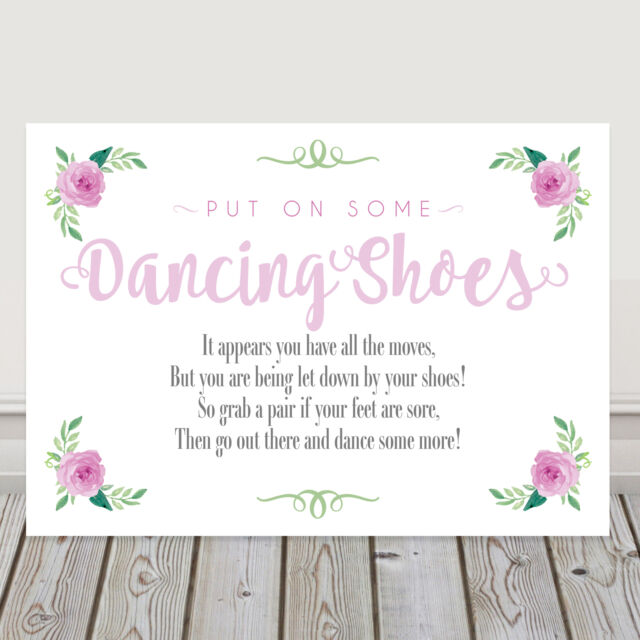 e9caf953a055 Pink Dancing Shoes Wedding Flip Flop Sign Tired and Sore Feet Poem 3FOR2  (P10)