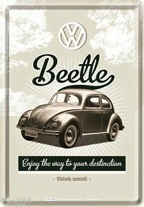 Nostalgic-Art Carte Postale en Tôle / Métal 10x14cm VW Beetle Enjoy Way To Ton