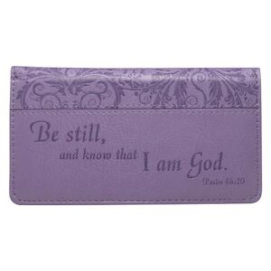 Be-Still-and-Know-That-I-Am-God-Checkbook-Cover-Purple-FREE-SHIPPING