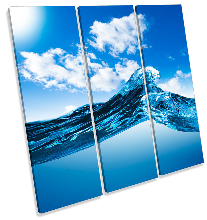 Water Wave Seascape TREBLE CANVAS WALL ART Square Picture Print Print Print 84774c
