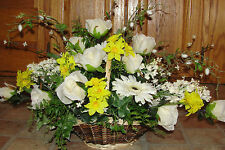 Spring Easter Centerpiece Silk Flower Arrangements Basket Roses Narcissus Fern