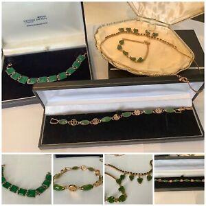 Job Lot Vintage Jewellery Chinese Jade Gold Tone Bracelets & Necklaces x4