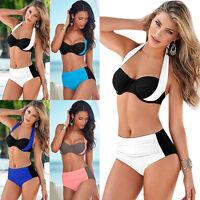Sexy Women Cross Halter High Waist Tow-pieces Bikini Bathing Swimsuit Swimwear