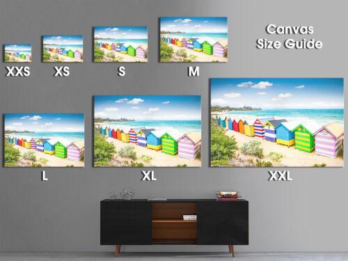 SC558 Colourful Beach Huts Retro Landscape Canvas Wall Art Large Picture Prints