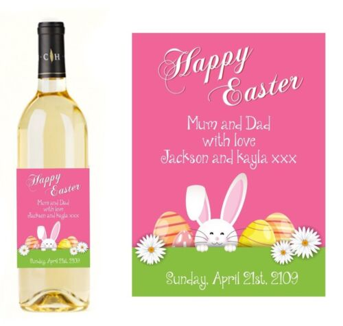 PERSONALISED EASTER WINE CHAMPAGNE  BOTTLE LABEL NAME METALLIC STICKER EASTER 5