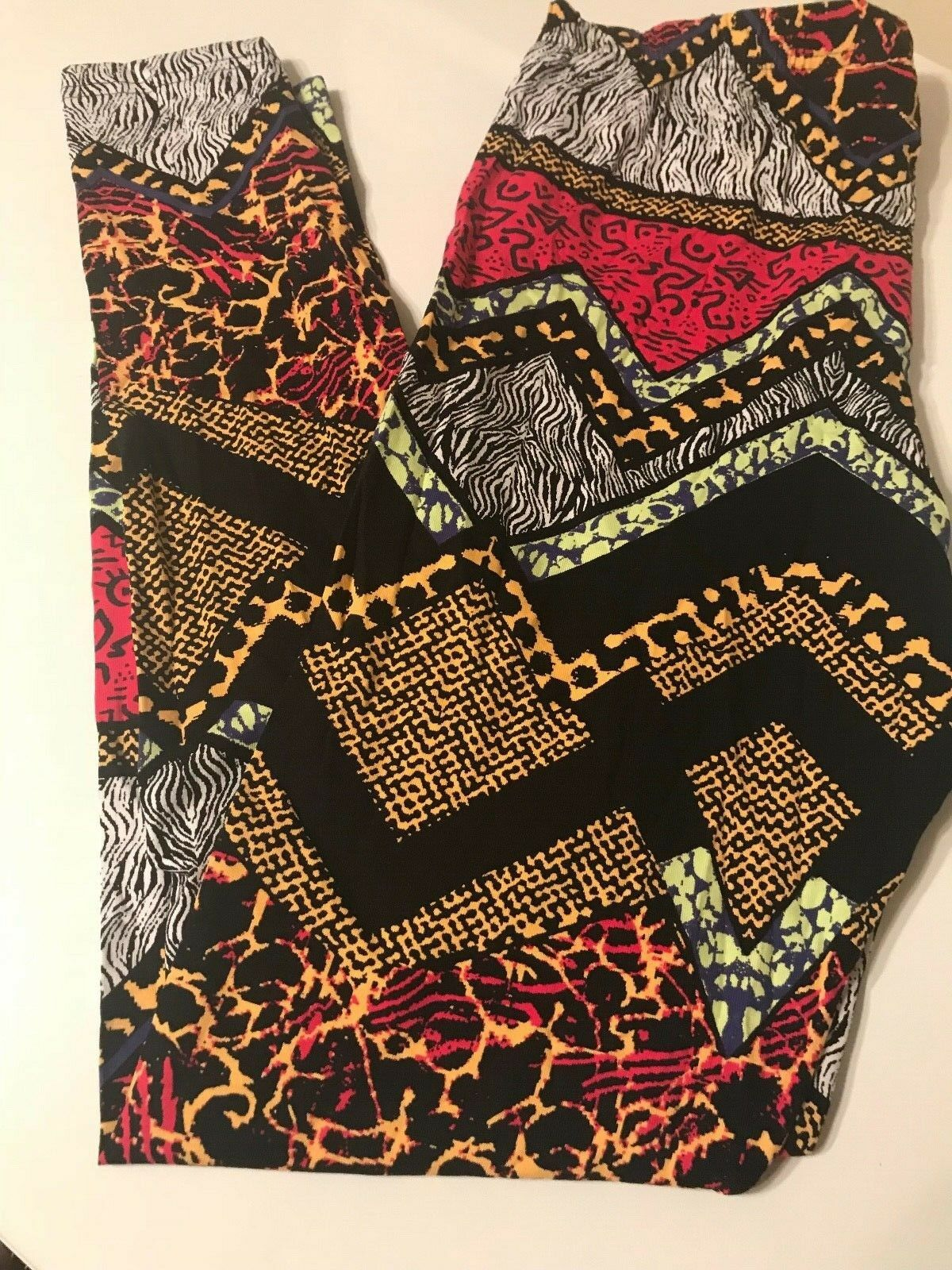H&M TREND DIVIDED ABSTRACT MIXED PRINT LEGGINGS   PANTS NWT Größe LARGE L