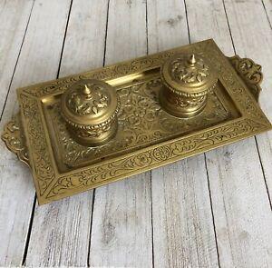 Inkwell-Double-Brass-Antique-Art-Nouveau