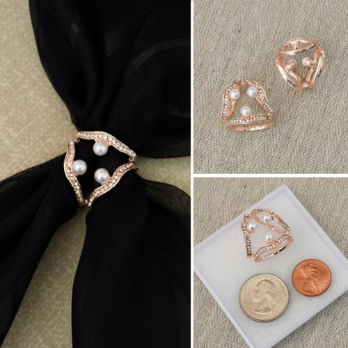Fashion Scarf Ring Rhinestone and Faux Pearl Accent