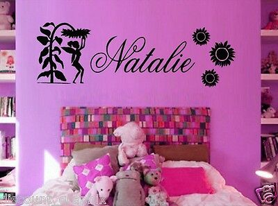FAIRY & SUNFLOWER DECAL PERSONALIZED NAME STICKER FLOWER WALL ART TINK PRINCESS