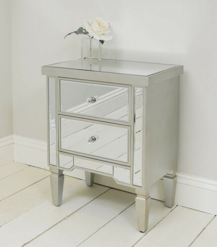 Mirrored Two Drawer Bedside Table Cabinet With Champagne Edging Bedroom