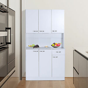Free Standing Kitchen Furniture Tall Cabinet Unit Modern Cupboard Storage Larder Ebay