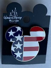 Walt Disney World Mickey Mouse American Flag Patriotic Head Ears 2002 Pin RARE
