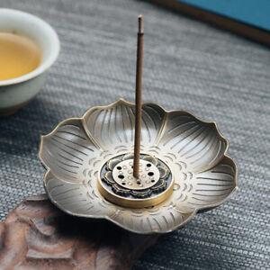 Lotus-Incense-Burner-Holder-Flower-Statue-Censer-Plate-For-Sticks-amp-Cone-BS