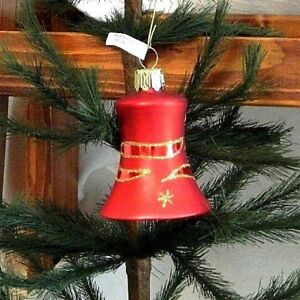 Pretty Red Bell W Gold Clouds Stars Blown Glass Christmas Tree Ornament Germany Ebay