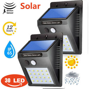 30-LED-Solar-Luz-de-Pared-Impermeable-Sensor-de-Movimiento-Lampara-Exterior