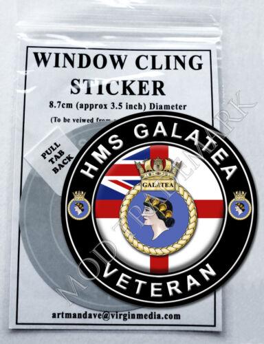 HMS GALATEA VETERAN WINDOW CLING STICKER  8.7cm Diameter