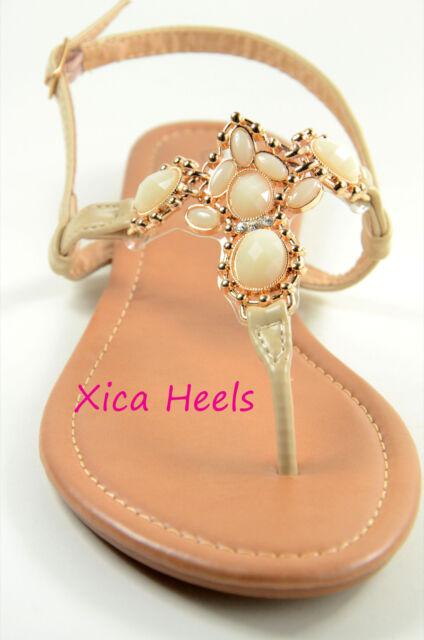 Womens Sandals Thong T Strap Faux Jeweled Flat Slingback Sandal Black Beige