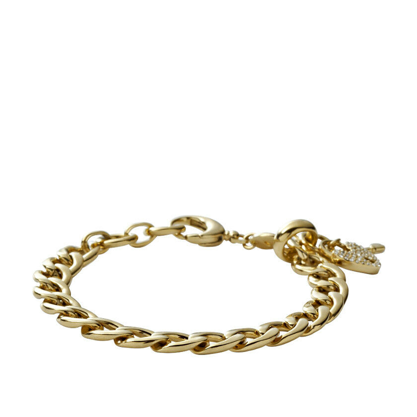 NEW FOSSIL gold TONE S STEEL HEART CRYSTAL PAVE+KEY CHARMS BRACELET-JF00143710
