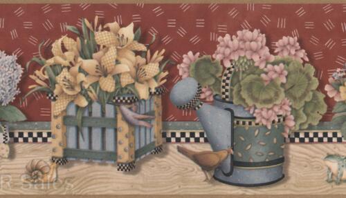 Debbie Mumm Garden Floral Bouquet Flower Frog Snail Folk Wall Wallpaper Border