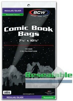 200 BCW Resealable Silver Age Comic Book Acid Free 2mil Poly Bags 7 1//8 x 10.5