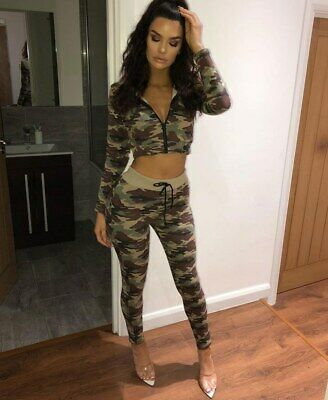 Brand New Womens Camouflage Zip Front Hooded Cropped Lounge Set Ausgereifte Technologien