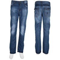 Fashion Mens Jeans Bootcut Flared Mid Denim Wide Leg Pants All Waist Sizes
