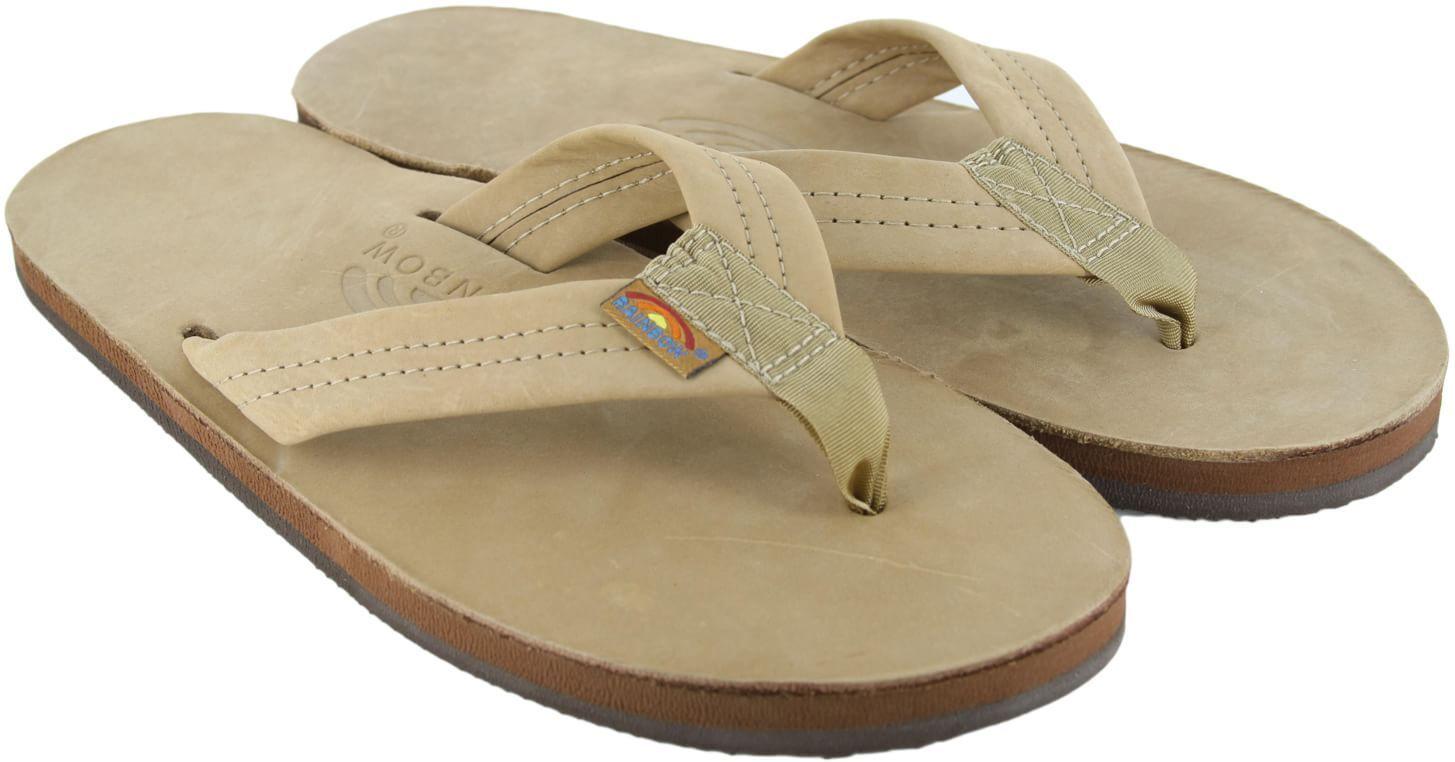 Mens XXXL 13.5-15 RAINBOW Premier Leather Single Layer SIERRA BROWN Flip Flops