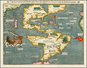 1550 New World North South America very early Sebastian Münster map ...