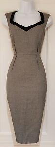 Womens-Hobbs-Black-White-Herringbone-Tweed-Wool-Lining-Career-Pencil-Dress-10