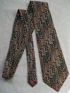 Qualifié Vintage Cravate Homme Large Cravate Rétro Fashion Noir Pêche Géométrique-afficher Le Titre D'origine