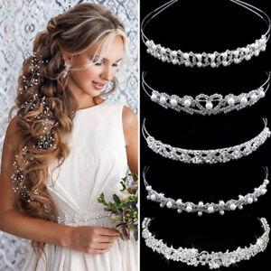 Wedding Bridal Accessories Crystal Pearl Headband Headpiece Hair Band Tiara Lot