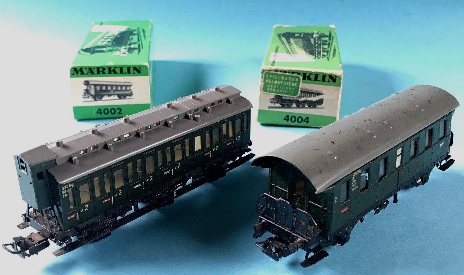 Konvolut 2x Märklin Eisenbahn Personenwagen 4002 u. 4004 OK Spur 00 H0 1954+1962